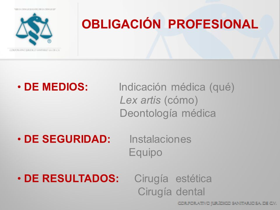 DE MEDIOS: Indicación médica (qué) Lex artis (cómo) Deontología médica DE SEGURIDAD: Instalaciones Equipo DE RESULTADOS: Cirugía estética Cirugía dent