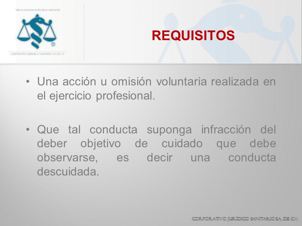 REQUISITOS Una acción u omisión voluntaria realizada en el ejercicio profesional. Que tal conducta suponga infracción del deber objetivo de cuidado qu