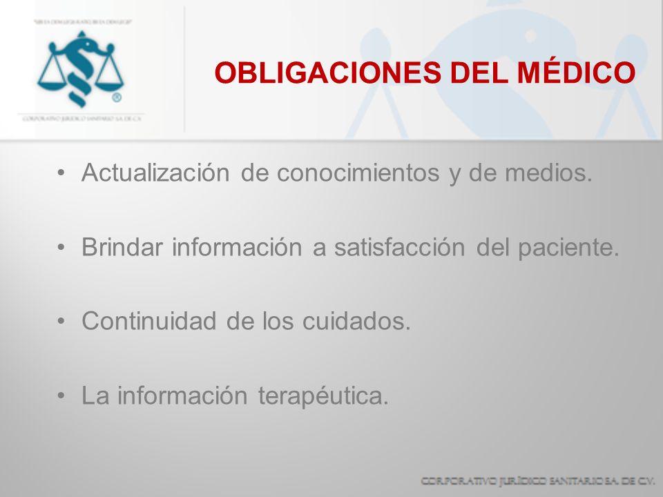 OBLIGACIONES DEL MÉDICO Actualización de conocimientos y de medios. Brindar información a satisfacción del paciente. Continuidad de los cuidados. La i