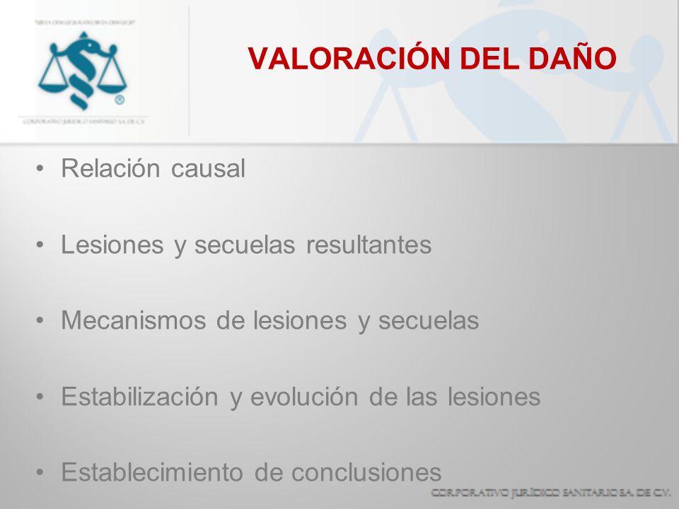 VALORACIÓN DEL DAÑO Relación causal Lesiones y secuelas resultantes Mecanismos de lesiones y secuelas Estabilización y evolución de las lesiones Estab