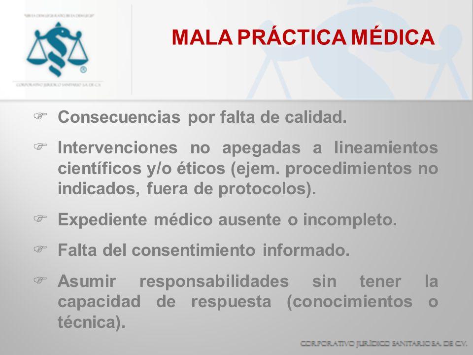 MALA PRÁCTICA MÉDICA Consecuencias por falta de calidad. Intervenciones no apegadas a lineamientos científicos y/o éticos (ejem. procedimientos no ind