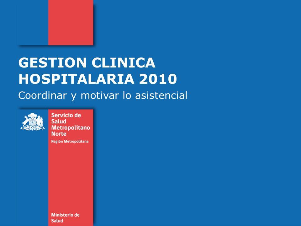 GESTION CLINICA HOSPITALARIA 2010 Coordinar y motivar lo asistencial