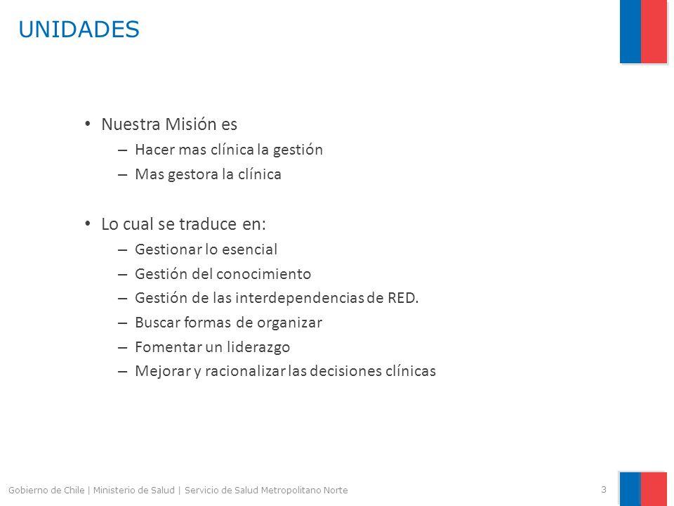 UNIDADES Nuestra Misión es – Hacer mas clínica la gestión – Mas gestora la clínica Lo cual se traduce en: – Gestionar lo esencial – Gestión del conoci
