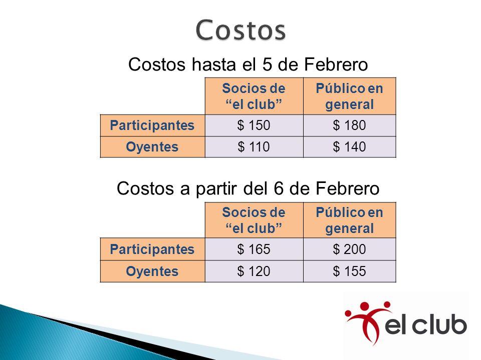 Costos hasta el 5 de Febrero Socios de el club Público en general Participantes$ 150$ 180 Oyentes$ 110$ 140 Costos a partir del 6 de Febrero Socios de