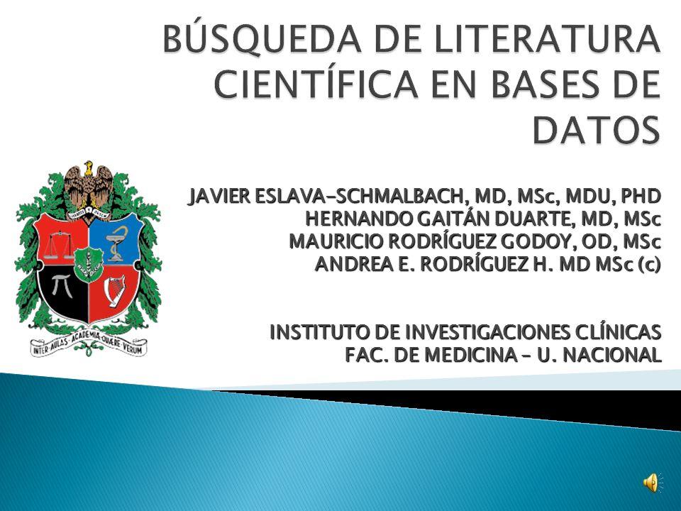 BÚSQUEDAS COCHRANECOCHRANE ACPJCODACPJCOD EBM JOURNALSEBM JOURNALS BANCO CATSBANCO CATS BASE DE DATOSBASE DE DATOS AÑOSAÑOS PALABRAS CLAVESPALABRAS CLAVES OPERADORES BOLEANOSOPERADORES BOLEANOS OTROS LIMITADORESOTROS LIMITADORES