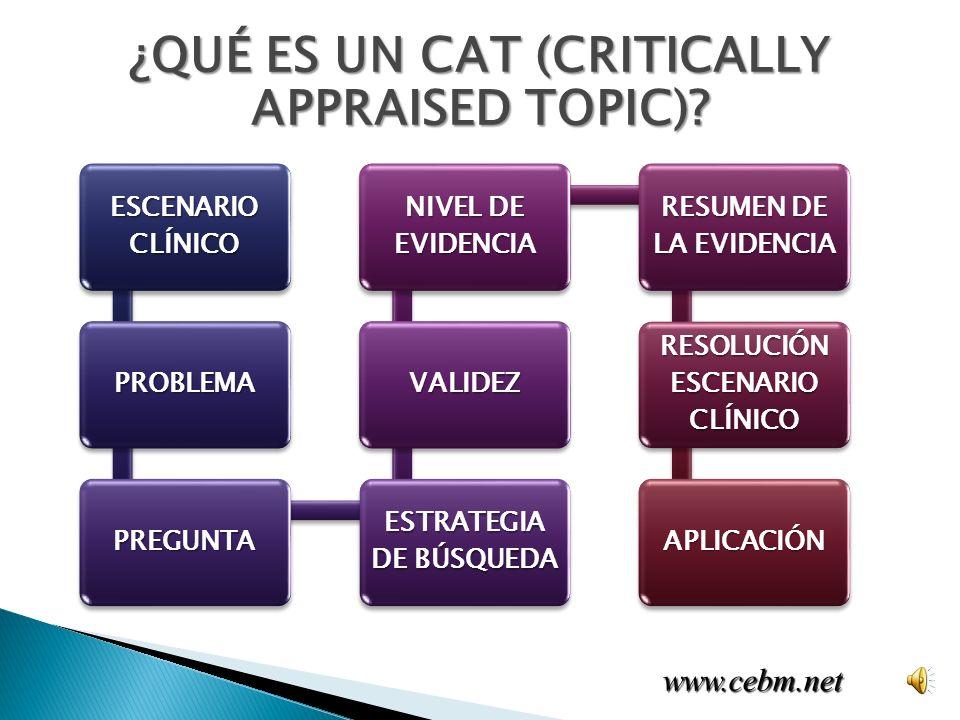 www.cebm.net ¿QUÉ ES UN CAT (CRITICALLY APPRAISED TOPIC).