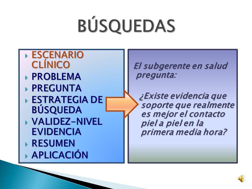 ESCENARIO CLÍNICO ESCENARIO CLÍNICO PROBLEMA PROBLEMA PREGUNTA PREGUNTA ESTRATEGIA DE BÚSQUEDA ESTRATEGIA DE BÚSQUEDA VALIDEZ-NIVEL EVIDENCIA VALIDEZ-NIVEL EVIDENCIA RESUMEN RESUMEN APLICACIÓN APLICACIÓN El subgerente en salud pregunta: ¿Existe evidencia que soporte que realmente es mejor el contacto piel a piel en la primera media hora.