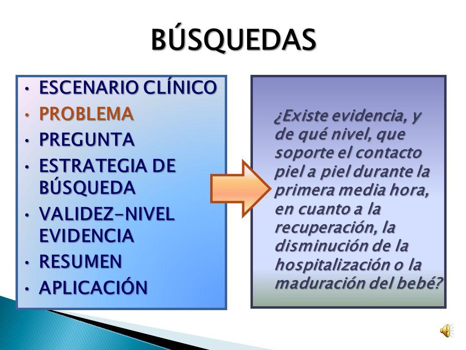 BÚSQUEDAS ESCENARIO CLÍNICOESCENARIO CLÍNICO PROBLEMAPROBLEMA PREGUNTAPREGUNTA ESTRATEGIA DE BÚSQUEDAESTRATEGIA DE BÚSQUEDA VALIDEZ-NIVEL EVIDENCIAVALIDEZ-NIVEL EVIDENCIA RESUMENRESUMEN APLICACIÓNAPLICACIÓN ¿Existe evidencia, y de qué nivel, que soporte el contacto piel a piel durante la primera media hora, en cuanto a la recuperación, la disminución de la hospitalización o la maduración del bebé.