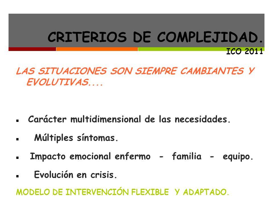 CRITERIOS DE COMPLEJIDAD.ICO 2011 LAS SITUACIONES SON SIEMPRE CAMBIANTES Y EVOLUTIVAS....