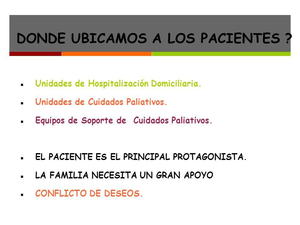 DONDE UBICAMOS A LOS PACIENTES .Unidades de Hospitalización Domiciliaria.