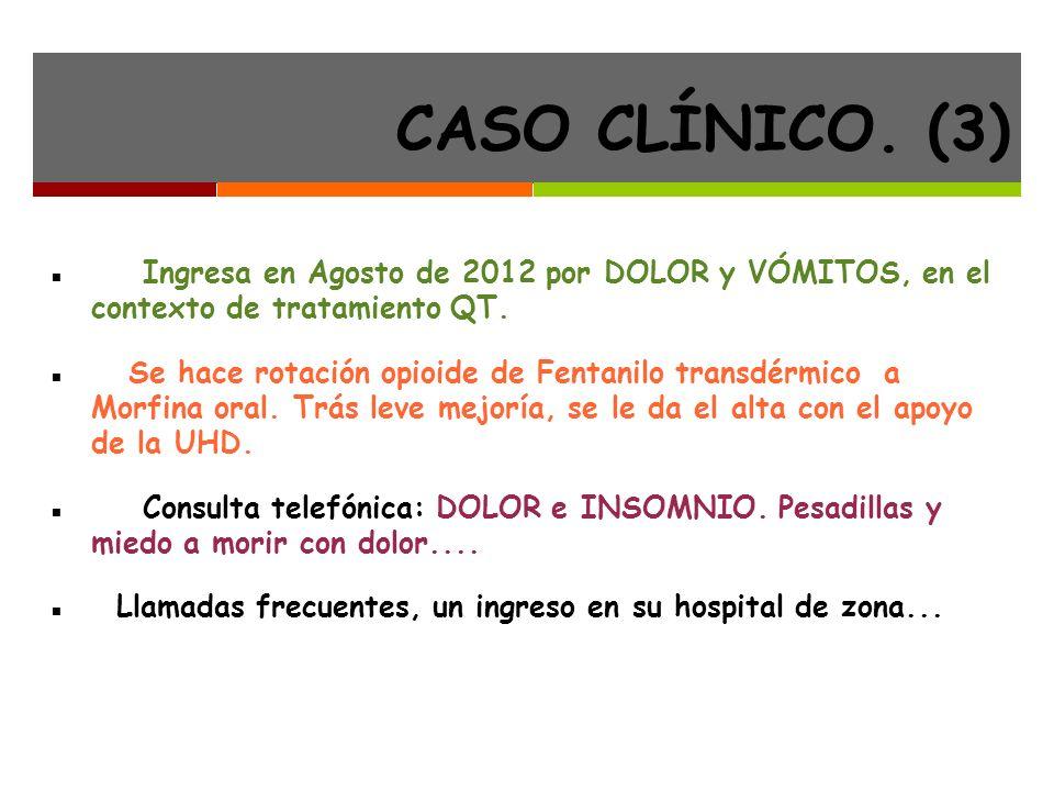 CASO CLÍNICO.(3) Ingresa en Agosto de 2012 por DOLOR y VÓMITOS, en el contexto de tratamiento QT.