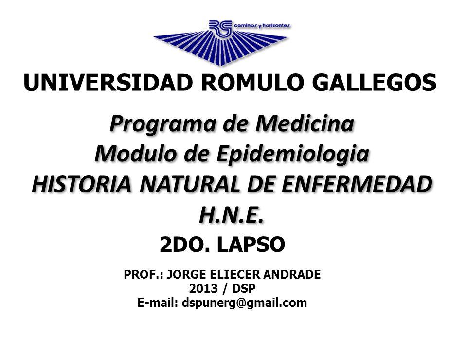 2DO. LAPSO PROF.: JORGE ELIECER ANDRADE 2013 / DSP E-mail: dspunerg@gmail.com Programa de Medicina Modulo de Epidemiologia HISTORIA NATURAL DE ENFERME