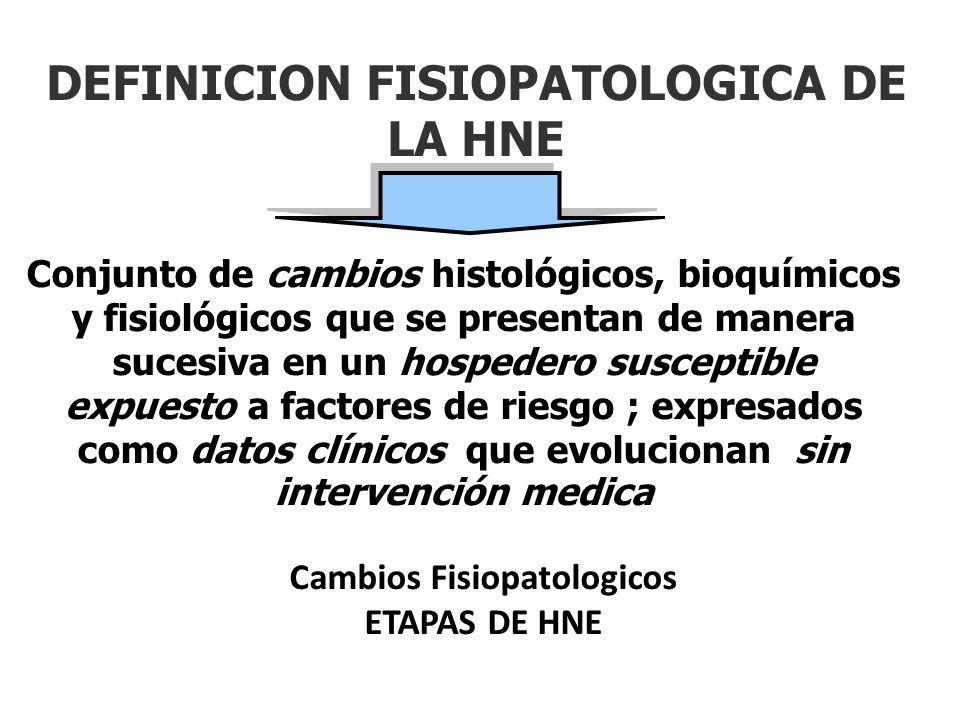 DEFINICION FISIOPATOLOGICA DE LA HNE Conjunto de cambios histológicos, bioquímicos y fisiológicos que se presentan de manera sucesiva en un hospedero