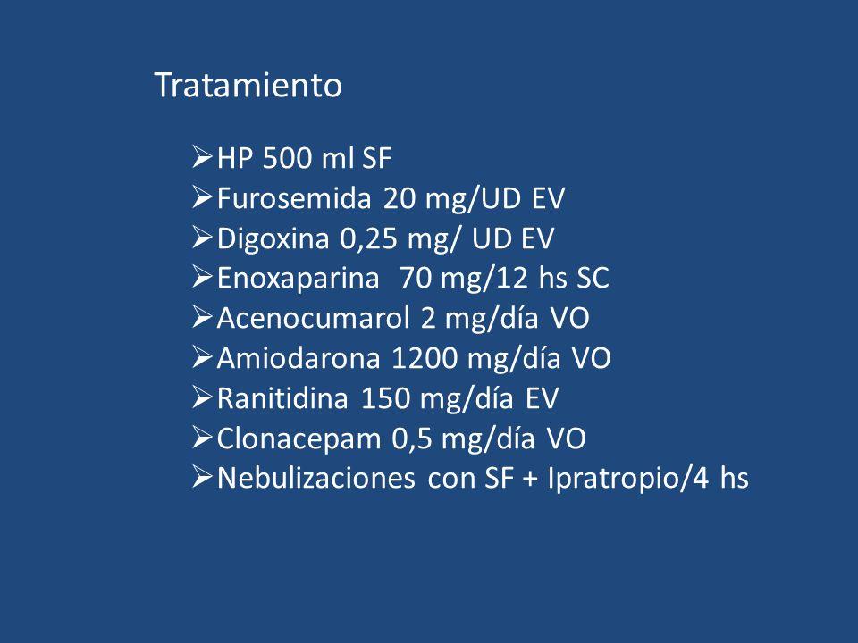 Tratamiento HP 500 ml SF Furosemida 20 mg/UD EV Digoxina 0,25 mg/ UD EV Enoxaparina 70 mg/12 hs SC Acenocumarol 2 mg/día VO Amiodarona 1200 mg/día VO