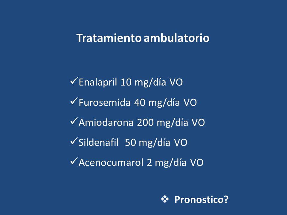 Tratamiento ambulatorio Enalapril 10 mg/día VO Furosemida 40 mg/día VO Amiodarona 200 mg/día VO Sildenafil 50 mg/día VO Acenocumarol 2 mg/día VO Prono