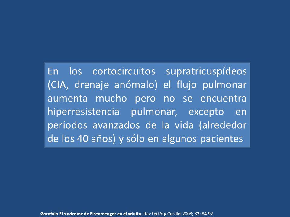 En los cortocircuitos supratricuspídeos (CIA, drenaje anómalo) el flujo pulmonar aumenta mucho pero no se encuentra hiperresistencia pulmonar, excepto