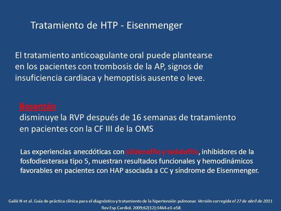 El tratamiento anticoagulante oral puede plantearse en los pacientes con trombosis de la AP, signos de insuficiencia cardiaca y hemoptisis ausente o l
