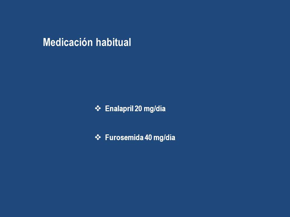 Medicación habitual Enalapril 20 mg/día Furosemida 40 mg/día