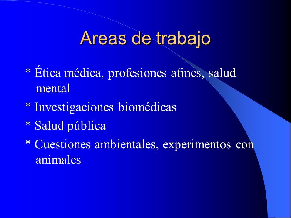 Areas de trabajo * Ética médica, profesiones afines, salud mental * Investigaciones biomédicas * Salud pública * Cuestiones ambientales, experimentos con animales