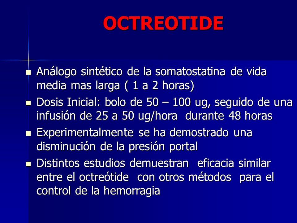 OCTREOTIDE Análogo sintético de la somatostatina de vida media mas larga ( 1 a 2 horas) Análogo sintético de la somatostatina de vida media mas larga