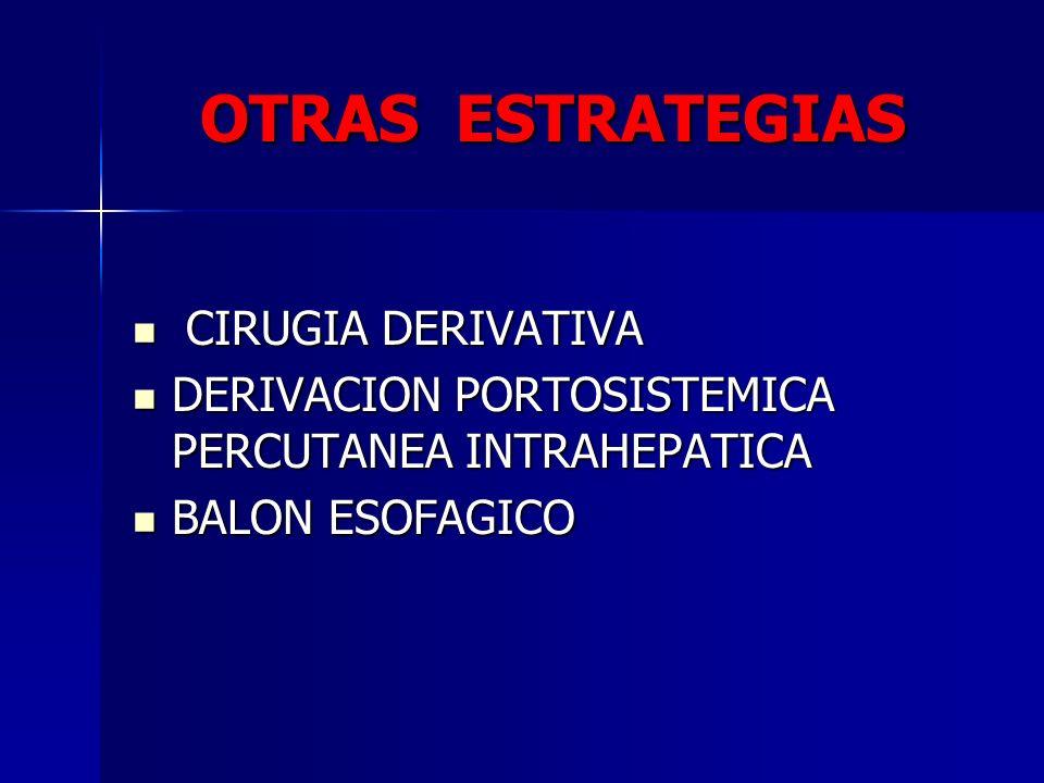 OTRAS ESTRATEGIAS CIRUGIA DERIVATIVA CIRUGIA DERIVATIVA DERIVACION PORTOSISTEMICA PERCUTANEA INTRAHEPATICA DERIVACION PORTOSISTEMICA PERCUTANEA INTRAH