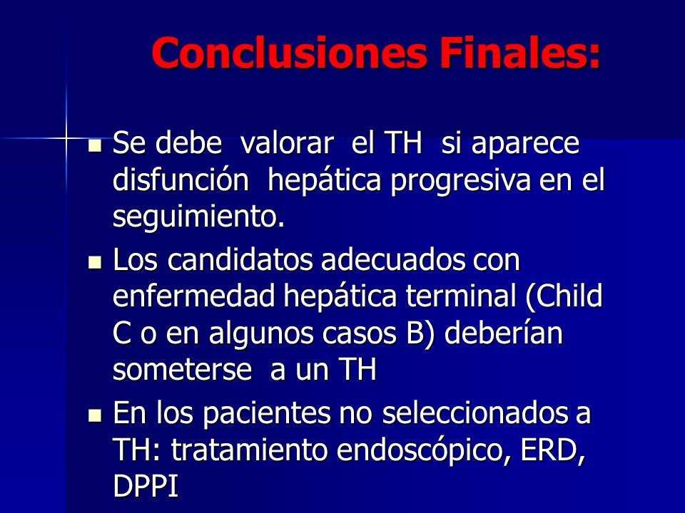 Conclusiones Finales: Se debe valorar el TH si aparece disfunción hepática progresiva en el seguimiento. Se debe valorar el TH si aparece disfunción h