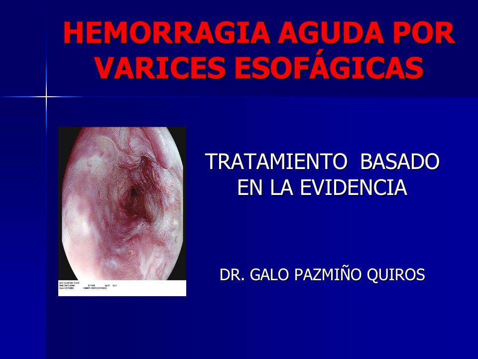 HEMORRAGIA AGUDA POR VARICES ESOFÁGICAS TRATAMIENTO BASADO EN LA EVIDENCIA DR. GALO PAZMIÑO QUIROS