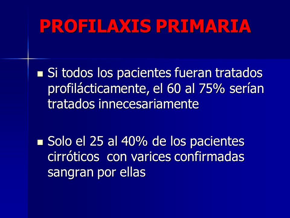PROFILAXIS PRIMARIA Si todos los pacientes fueran tratados profilácticamente, el 60 al 75% serían tratados innecesariamente Si todos los pacientes fue