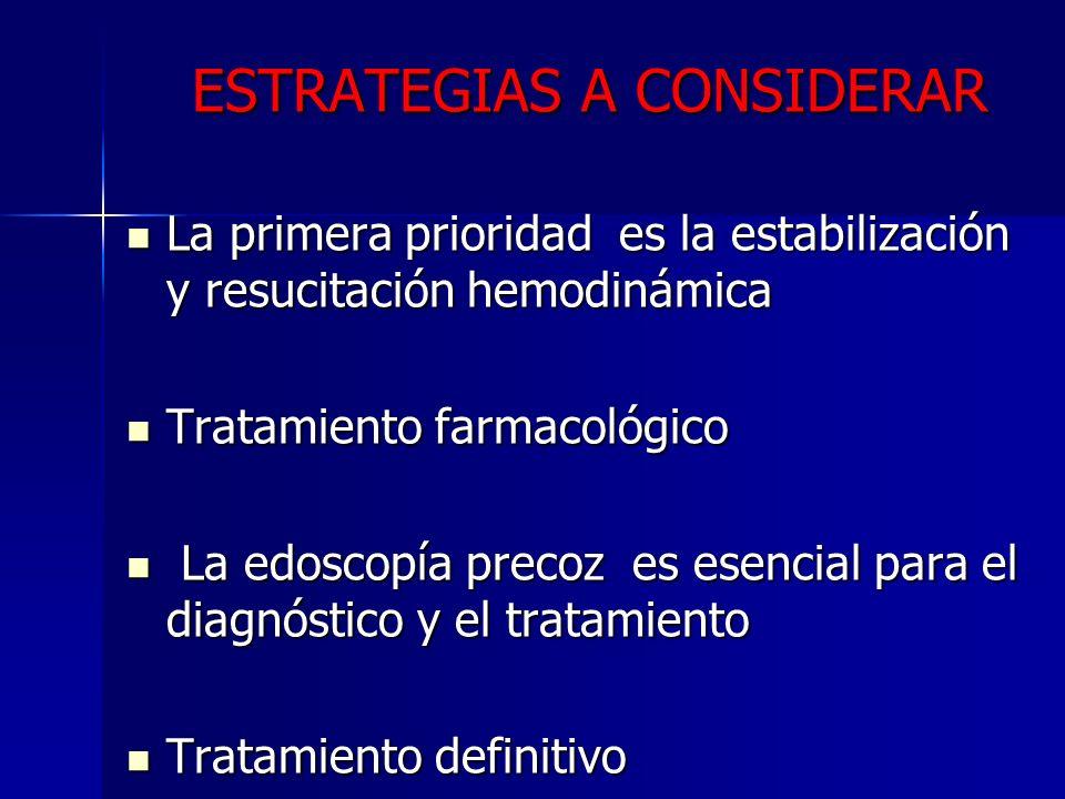 ESTRATEGIAS A CONSIDERAR La primera prioridad es la estabilización y resucitación hemodinámica La primera prioridad es la estabilización y resucitació