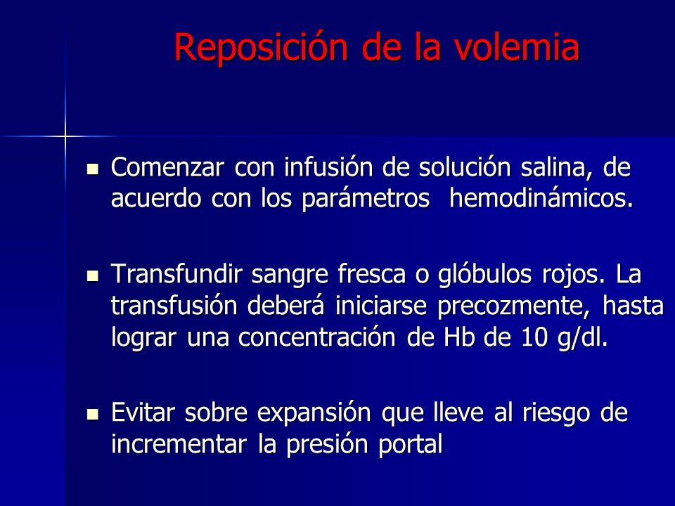 Reposición de la volemia Comenzar con infusión de solución salina, de acuerdo con los parámetros hemodinámicos. Comenzar con infusión de solución sali