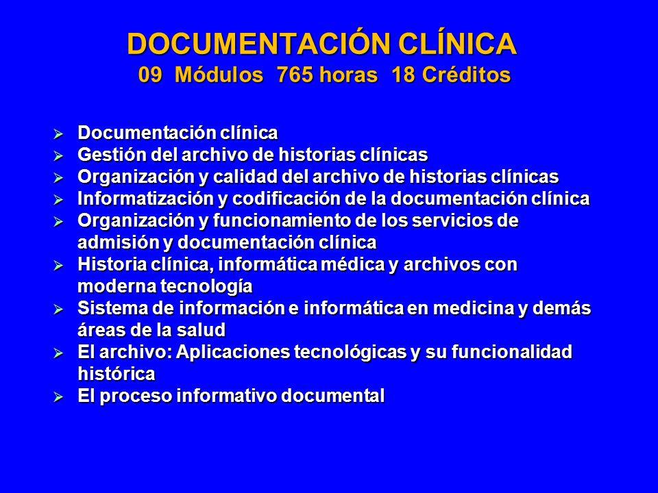 DOCUMENTACIÓN CLÍNICA 09 Módulos 765 horas 18 Créditos Documentación clínica Documentación clínica Gestión del archivo de historias clínicas Gestión d
