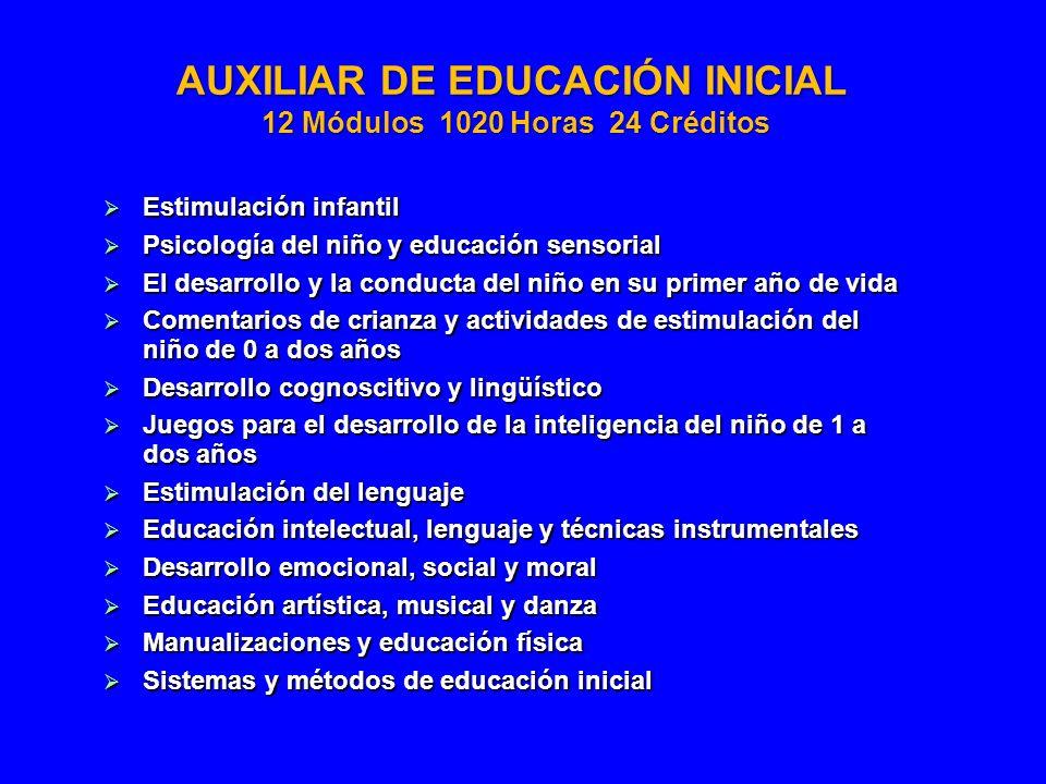 AUXILIAR DE EDUCACIÓN INICIAL 12 Módulos 1020 Horas 24 Créditos Estimulación infantil Estimulación infantil Psicología del niño y educación sensorial