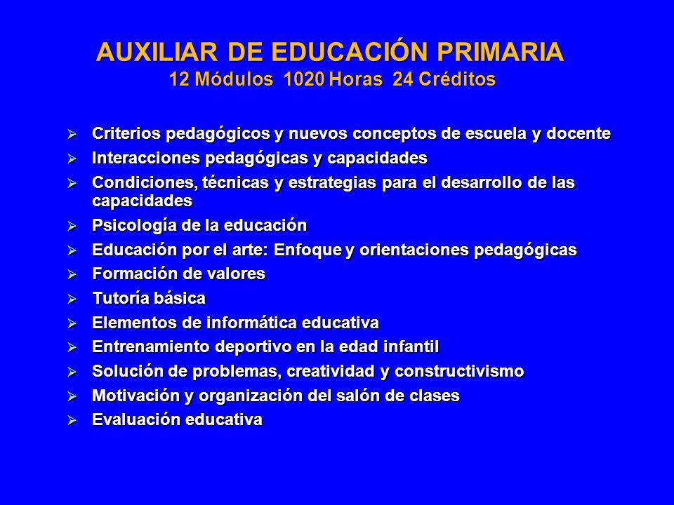 AUXILIAR DE EDUCACIÓN PRIMARIA 12 Módulos 1020 Horas 24 Créditos Criterios pedagógicos y nuevos conceptos de escuela y docente Criterios pedagógicos y