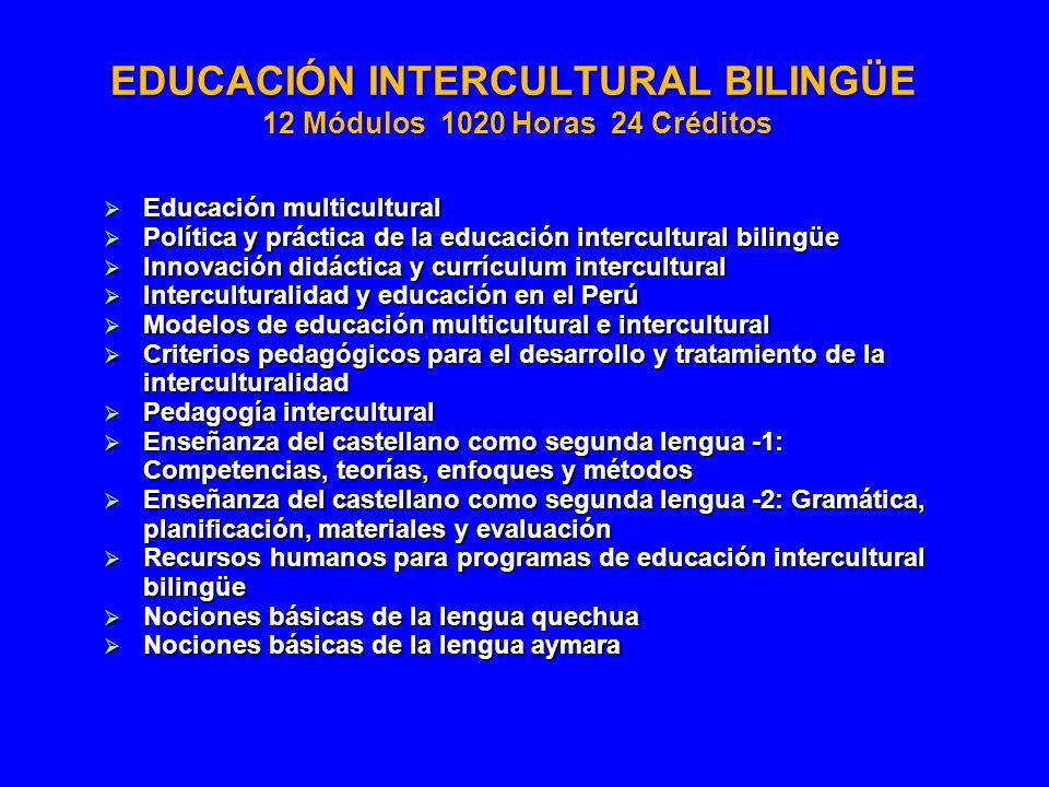 EDUCACIÓN INTERCULTURAL BILINGÜE 12 Módulos 1020 Horas 24 Créditos Educación multicultural Educación multicultural Política y práctica de la educación