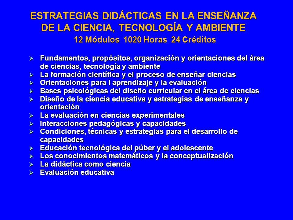 ESTRATEGIAS DIDÁCTICAS EN LA ENSEÑANZA DE LA CIENCIA, TECNOLOGÍA Y AMBIENTE 12 Módulos 1020 Horas 24 Créditos Fundamentos, propósitos, organización y