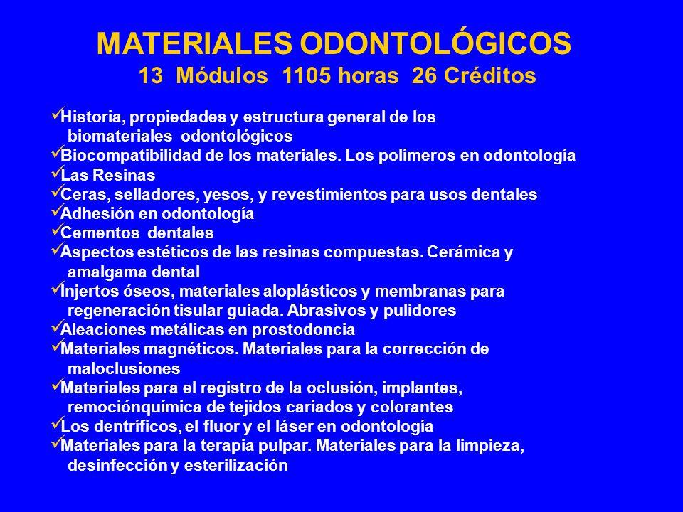 Historia, propiedades y estructura general de los biomateriales odontológicos Biocompatibilidad de los materiales. Los polímeros en odontología Las Re