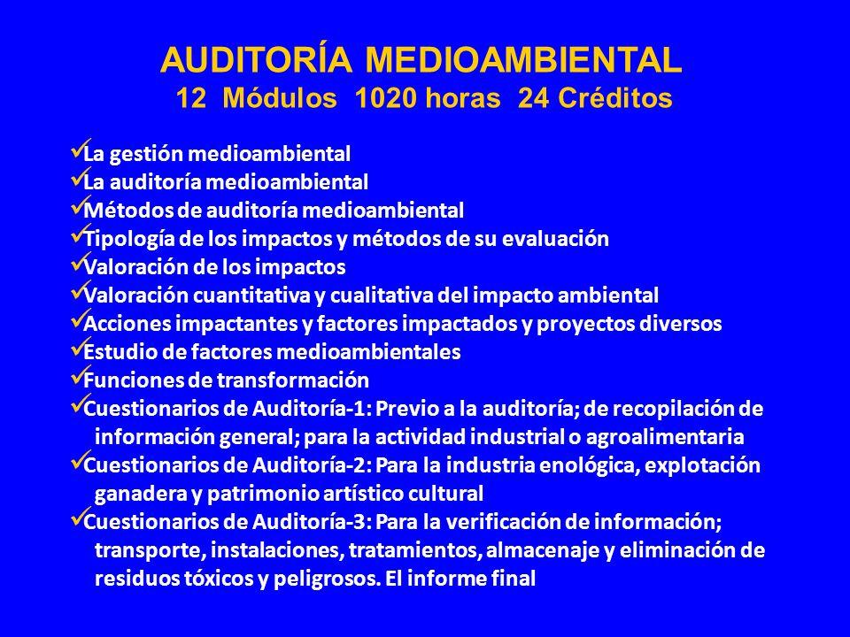 La gestión medioambiental La auditoría medioambiental Métodos de auditoría medioambiental Tipología de los impactos y métodos de su evaluación Valorac