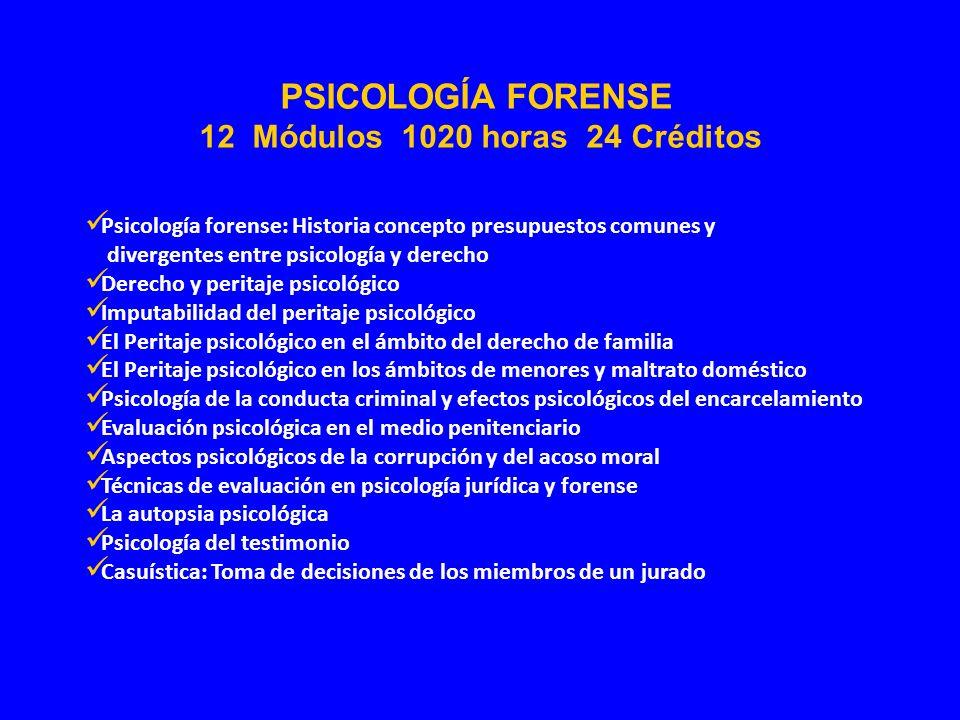 Psicología forense: Historia concepto presupuestos comunes y divergentes entre psicología y derecho Derecho y peritaje psicológico Imputabilidad del p