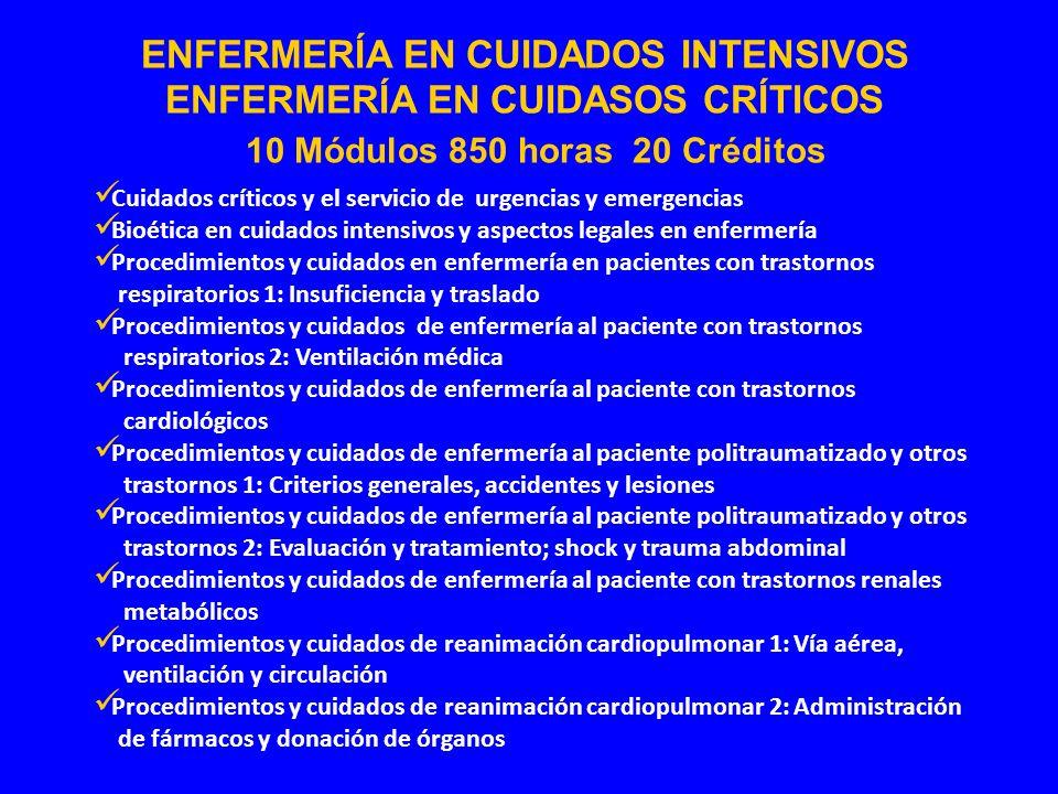 Cuidados críticos y el servicio de urgencias y emergencias Bioética en cuidados intensivos y aspectos legales en enfermería Procedimientos y cuidados