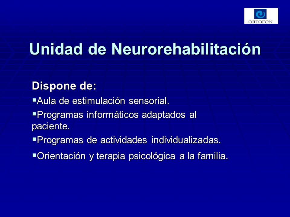 Dispone de: Aula de estimulación sensorial. Aula de estimulación sensorial. Programas informáticos adaptados al paciente. Programas informáticos adapt
