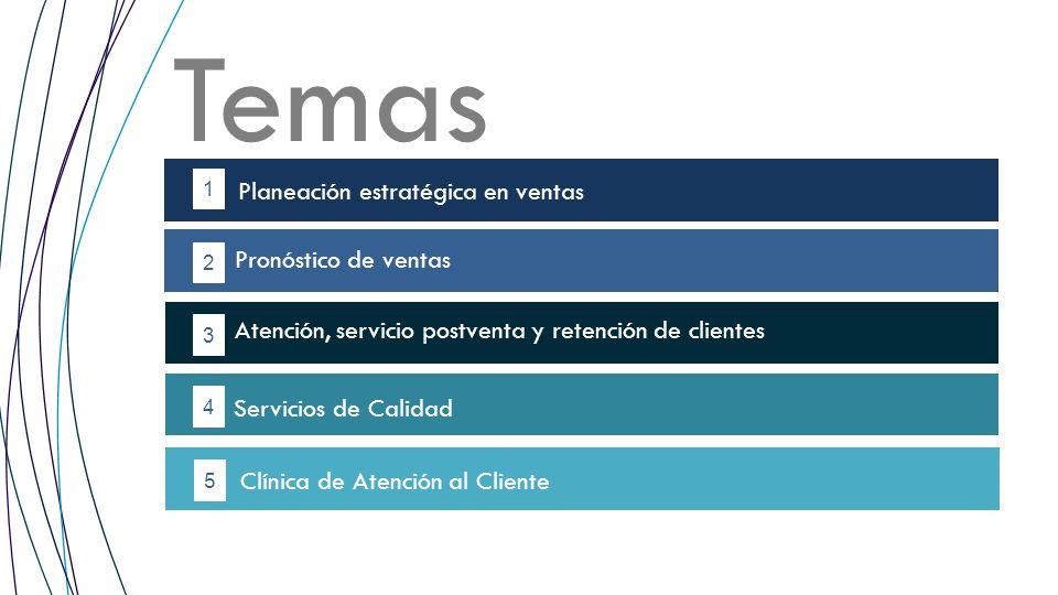 Temas 1 2 4 5 Planeación estratégica en ventas 3 Clínica de Atención al Cliente Pronóstico de ventas Atención, servicio postventa y retención de clien