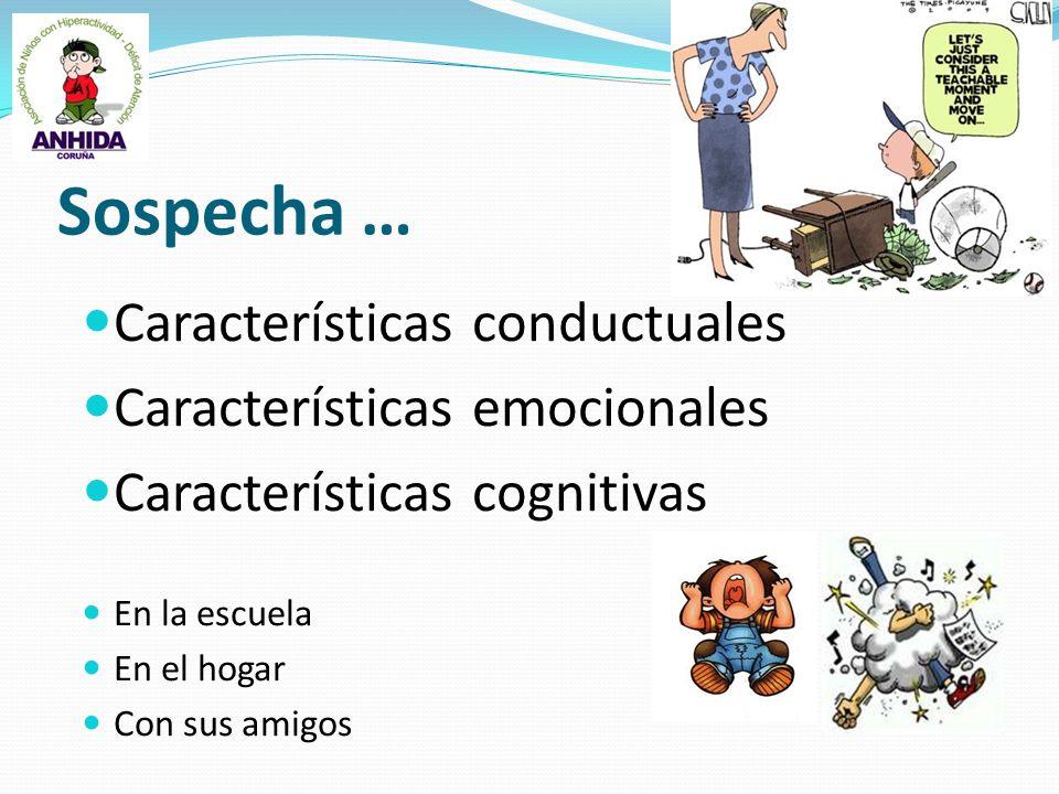 Sospecha … Características conductuales Características emocionales Características cognitivas En la escuela En el hogar Con sus amigos