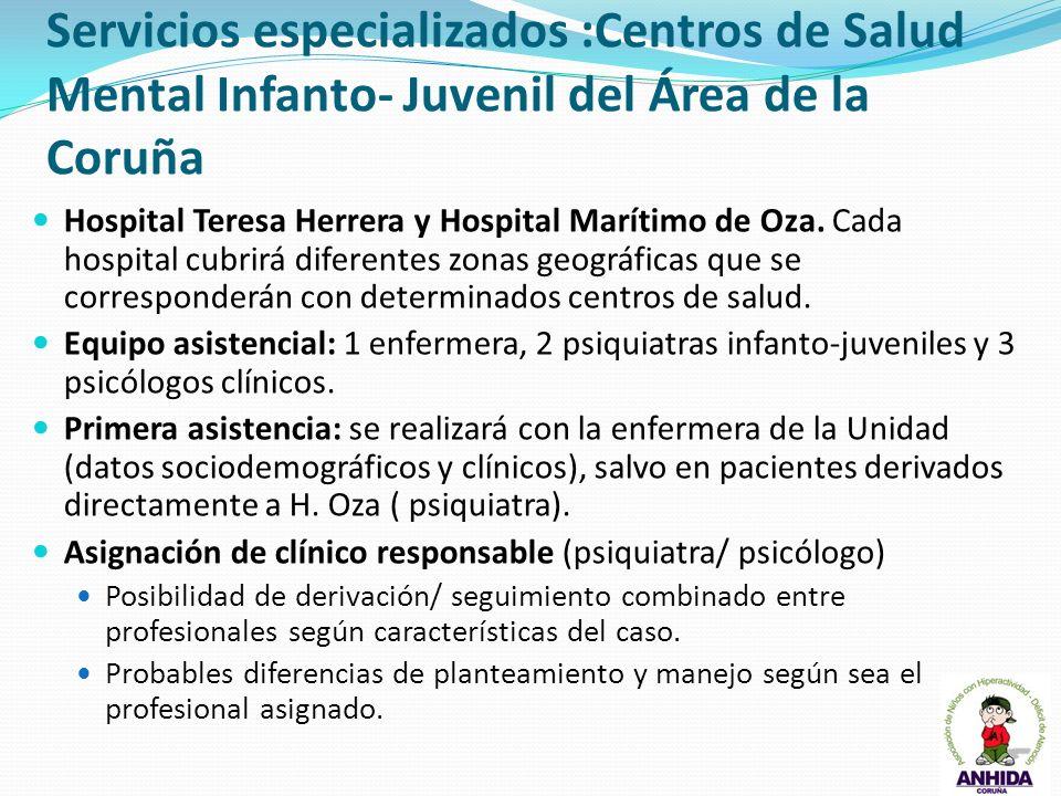 Servicios especializados :Centros de Salud Mental Infanto- Juvenil del Área de la Coruña Hospital Teresa Herrera y Hospital Marítimo de Oza. Cada hosp