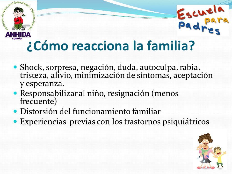 ¿Cómo reacciona la familia? Shock, sorpresa, negación, duda, autoculpa, rabia, tristeza, alivio, minimización de síntomas, aceptación y esperanza. Res