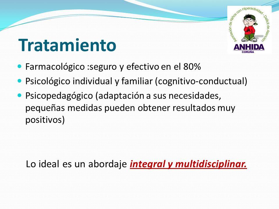 Tratamiento Farmacológico :seguro y efectivo en el 80% Psicológico individual y familiar (cognitivo-conductual) Psicopedagógico (adaptación a sus nece