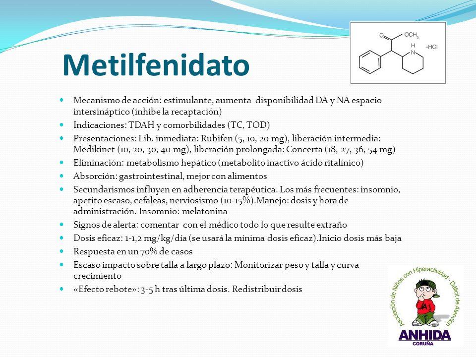 Metilfenidato Mecanismo de acción: estimulante, aumenta disponibilidad DA y NA espacio intersináptico (inhibe la recaptación) Indicaciones: TDAH y com