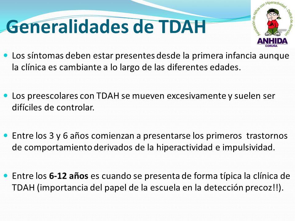 Generalidades de TDAH Los síntomas deben estar presentes desde la primera infancia aunque la clínica es cambiante a lo largo de las diferentes edades.