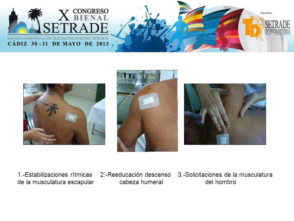 1.-Estabilizaciones rítmicas 2.-Reeducación descenso 3.-Solicitaciones de la musculatura de la musculatura escapular cabeza humeral del hombro