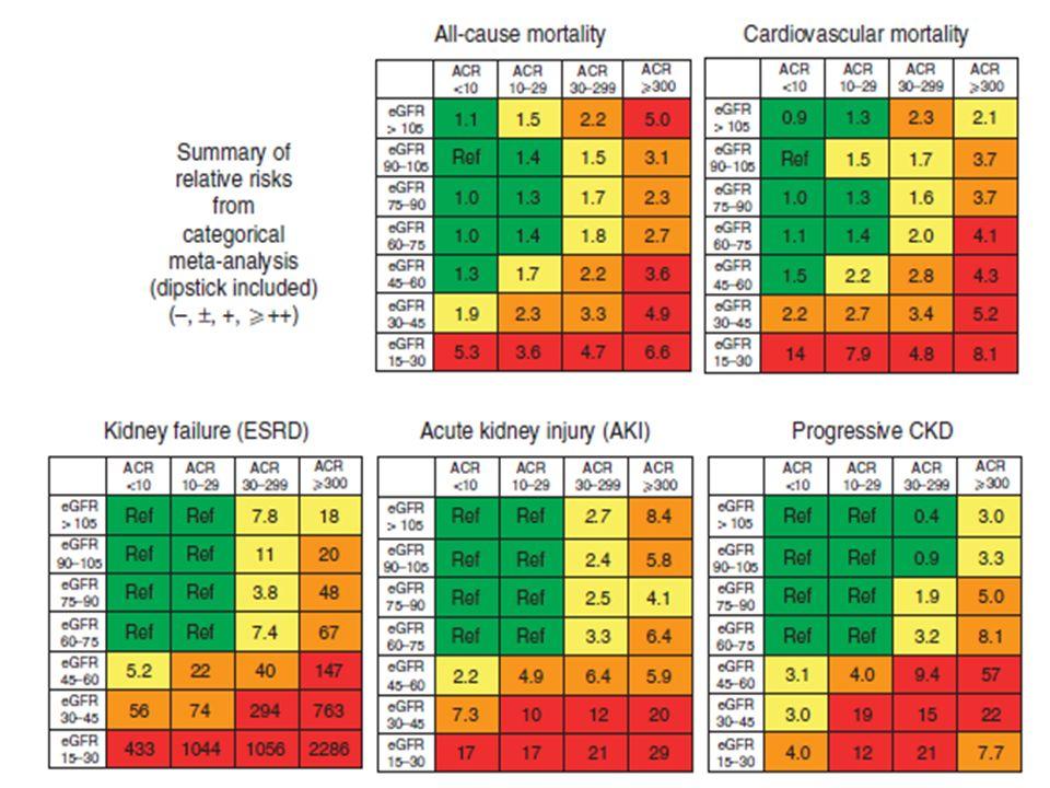 Se evidencia un incremento del riesgo con un gradiente, según el valor de albuminuria independiente de la TFG El umbral de 30 mg/g es estadísticamente significativo, pero aún entre 10-29 mg/gr hay aumento del riesgo La subdivisión del estadio 3 es 2 es razonable dado el aumento escalonado en el riesgo en la medida en que disminuye la TFG