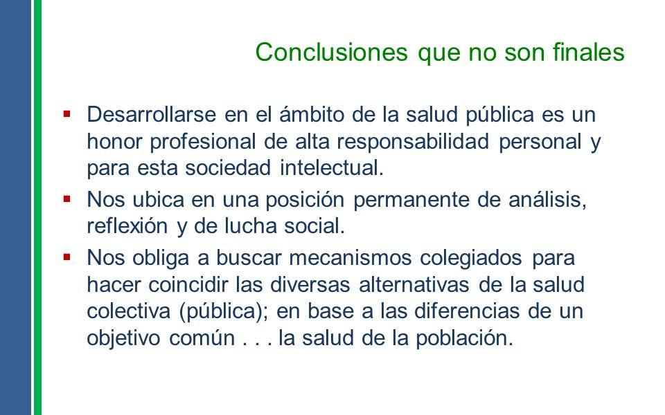 Conclusiones que no son finales Desarrollarse en el ámbito de la salud pública es un honor profesional de alta responsabilidad personal y para esta so